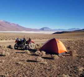 XENA camping in the Andes